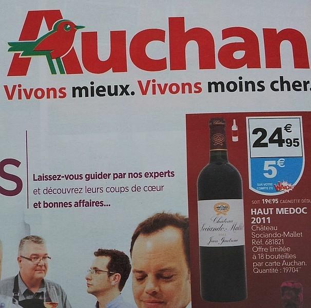 24,95 € - 5 € crédités sur le compte Waaoh des clients Auchan = 19,95 € la bouteille de Sociando-Mallet 2011! (Photo Rayon Boissons)
